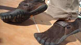 Vibram's FiveFingers shoes have no cushioning and five separate pockets for toes