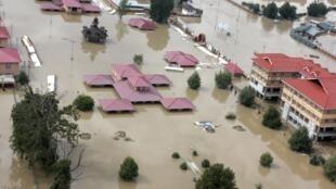Vue aérienne de la ville inondée de Srinagar, le 9 septembre 2014.