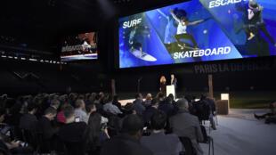 Coletiva de imprensa na La Defense Arena par ao anúncio das propostas de novas modalidades para Paris 2024.