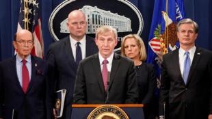 Chưởng lý Richard P. Donoghue tại Tòa án quận phía đông New York, Mỹ, trong cuộc họp báo tại Washington, ngày 28/01/2019, về các cáo buộc nhắm vào tập đoàn Hoa Vi, Trung Quốc.
