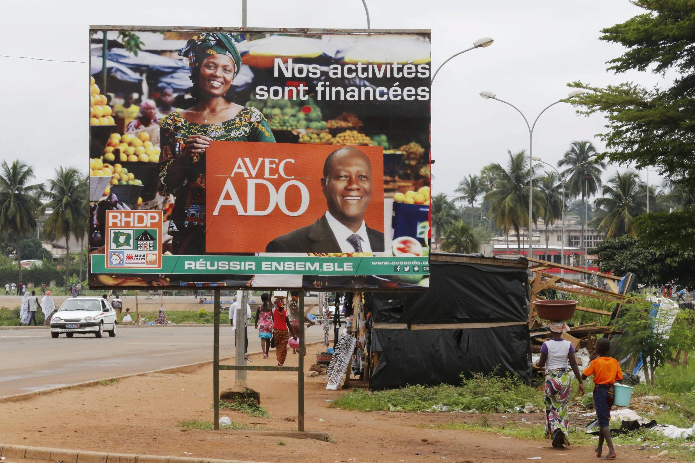 Affiche de campagne du candidat Alassane Ouattara à Yamoussoukro.
