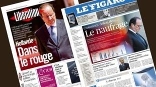 Capa dos jornais franceses Le Figaro e Libération