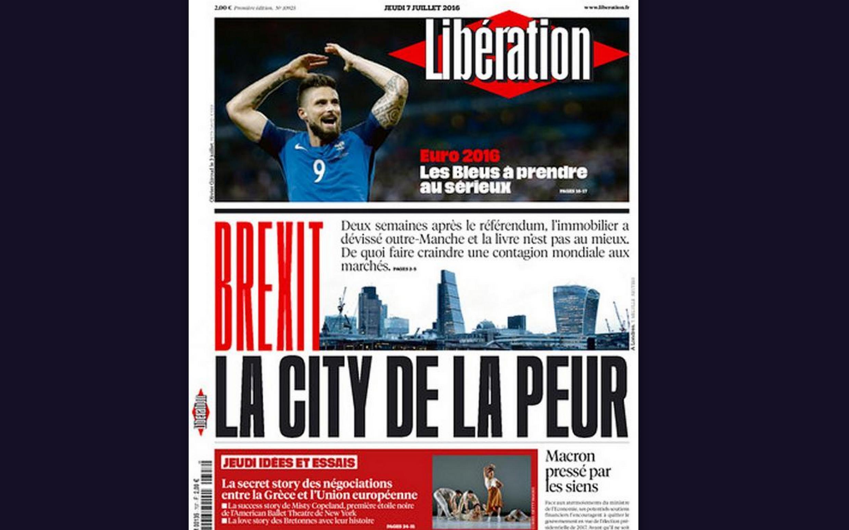 Capa do jornal francês Libération desta quinta-feira, 7 de julho de 2016