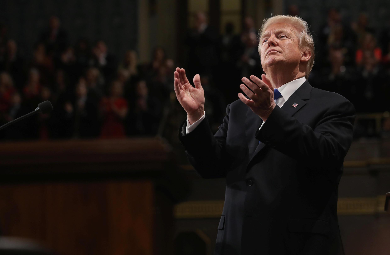 Donald Trump lors de son premier discours sur l'état de l'Union, le 30 janvier 2018.