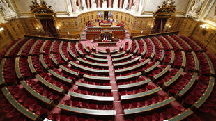 The chamber of the French Senate before a session