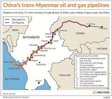 Đường sắt  dự kiến xây dựng sẽ  dọc theo đường ống dẫn khí đốt  từ cảng miền tây Miến Điện sang vùng Vân Nam Trung Quốc