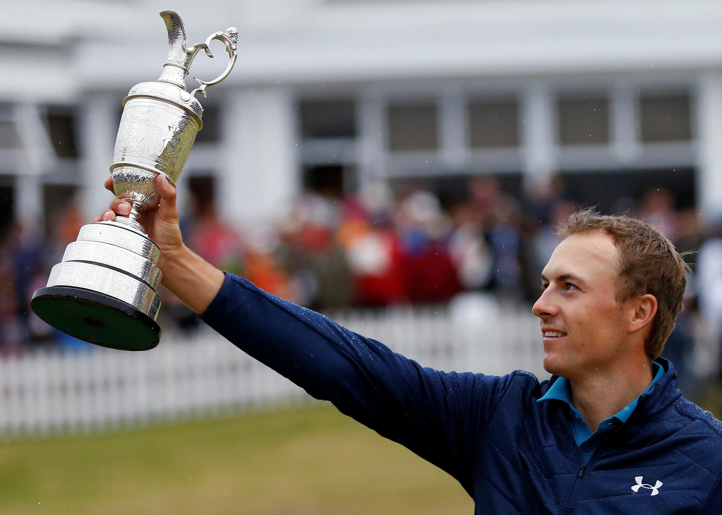 Jordan Spieth added the British Open prize to his collection which includes trophies from the Masters as well as the US Open.
