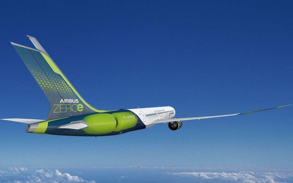 Imagem do projeto Zeroe, da Airbus, um avião movido a hidrogênio.
