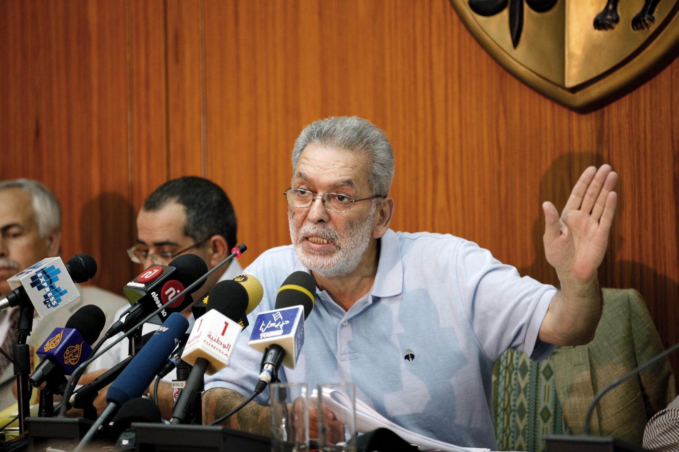 Kamel Jendoubi, le président de la Commission électorale tunisienne lors d'une conférence de presse à Tunis le 26 mai 2011.