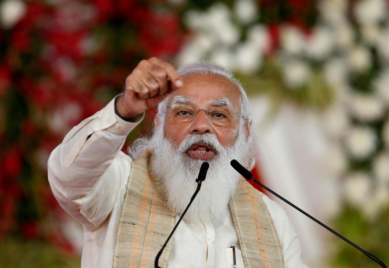 2021年3月12日,印度總理莫迪在艾哈邁達巴德。