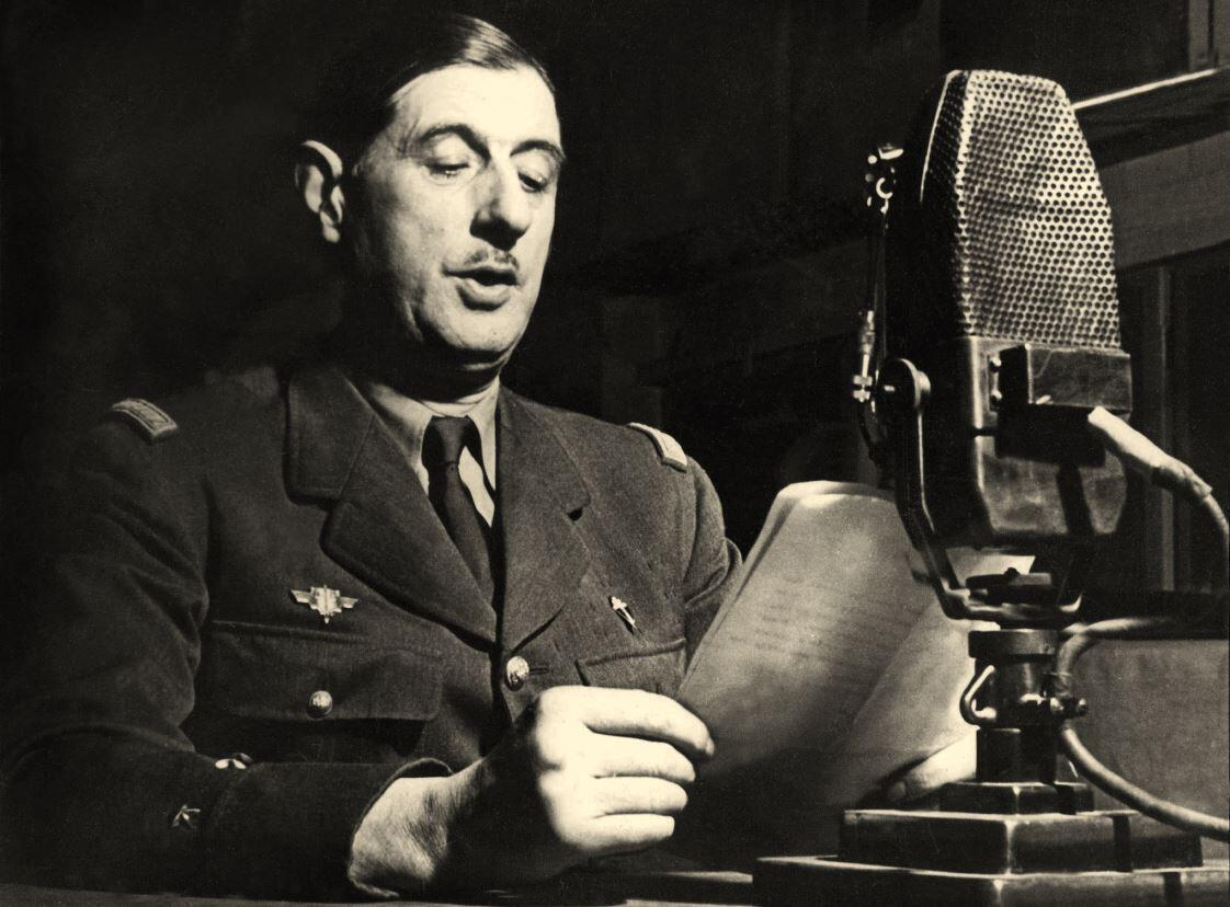 This photograph of French General Charles de Gaulle, taken during a speech at BBC studios in London in 1941, is often used to represent the Appeal of 18 June 1940 in which De Gaulle called on France to resist the German occupation.