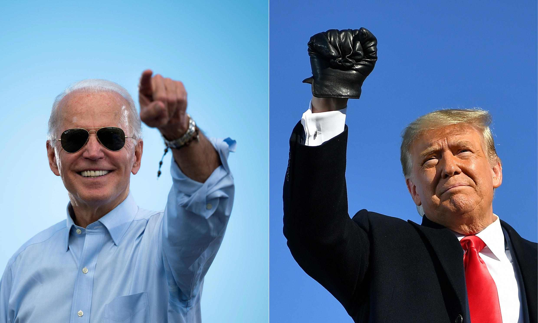 Los dos candidatos en la carrera hacia la Casa Blanca, durante sendos mítines de campaña en los últimos días: Joe Biden (izquierda) y Donald Trump (derecha)