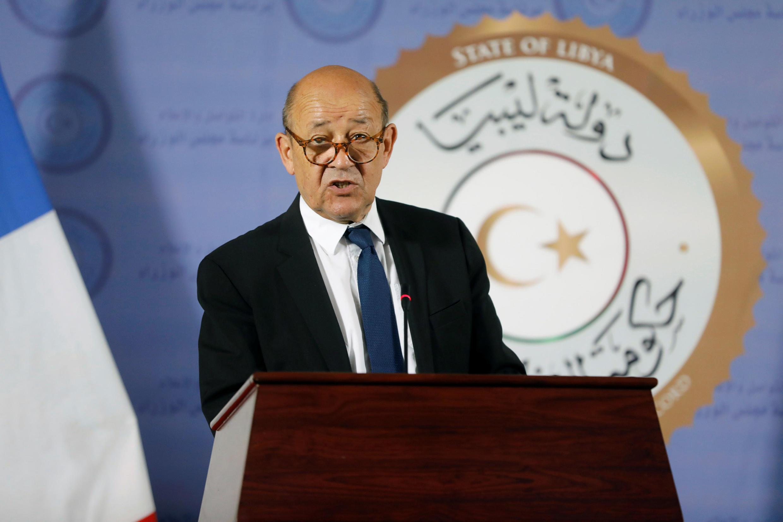 نشست خبری وزیر امور خارجه فرانسه در دفتر مرکزی نخست وزیری در تریپولی. دوشنبه اول مرداد/ ٢٣ ژوئیه ٢٠۱٨