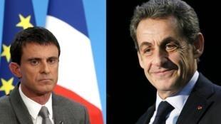 El primer ministro, Manuel Valls (izquierda) y el líder de la derecha, en la oposición, el expresidente Nicolas Sarkozy.