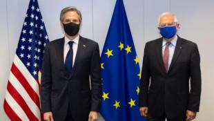 美国国务卿布林肯与欧盟外交与安全政策高级代表博雷利资料图片