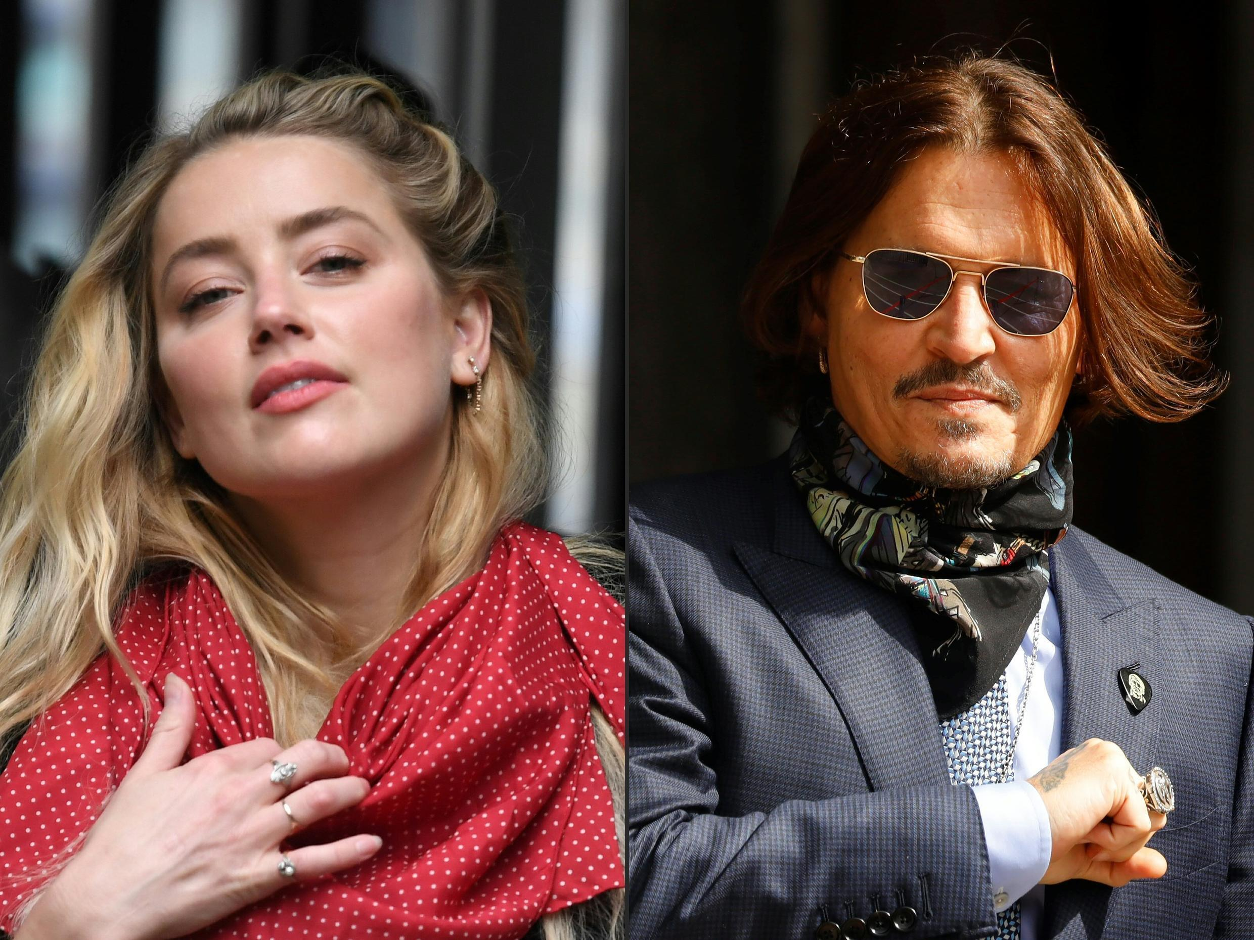 Amber Heard and her former husband Johnny Depp, arriving at court in London on the 23 and 24 July 2020, respectively.