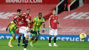 Second time's a charm: Bruno Fernandes's twice-taken penalty earned Manchester United a long-awaited home Premier League win