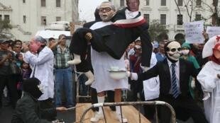 Biểu tình phản đối ân xá cho cựu tổng thống Fujimori, ngày 28/12/2017, tại Lima, thủ đô Peru