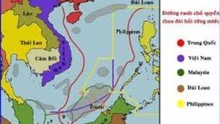 """Bản đồ yêu sách chủ quyền của các quốc gia ven Biển Đông, trong đó có yêu sách của Trung Quốc mang tên gọi đường chín vạch (hay """"đường lưỡi bò"""")"""