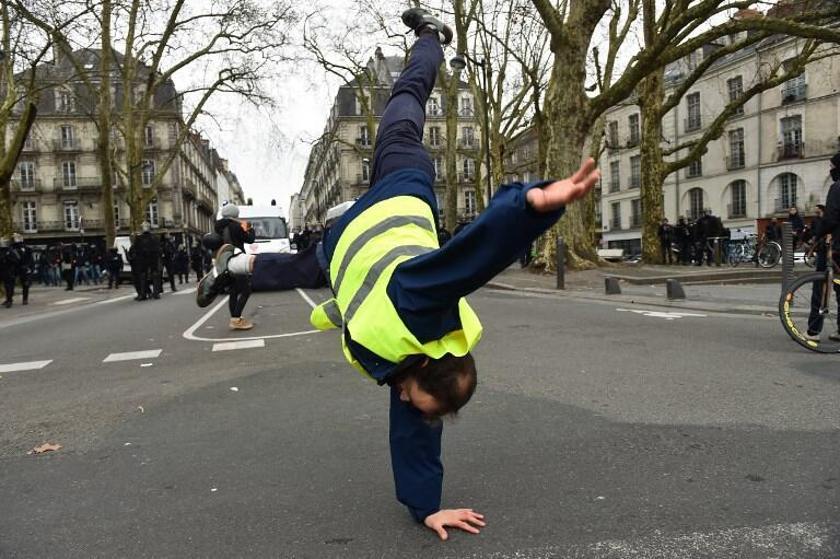 """A member of the """"yellow vests"""" movement in Nantes on December 29, 2018"""