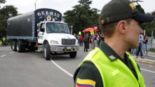 Cucuta地區存放各國對委內瑞拉援助物資的場景