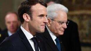 Emmanuel Macron (g.) et Sergio Mattarella lors d'une précédente rencontre, en janvier 2018.