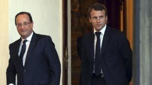 作為前經濟部長的馬克龍和總統奧朗德於2013年在愛麗舍宮的資料圖片