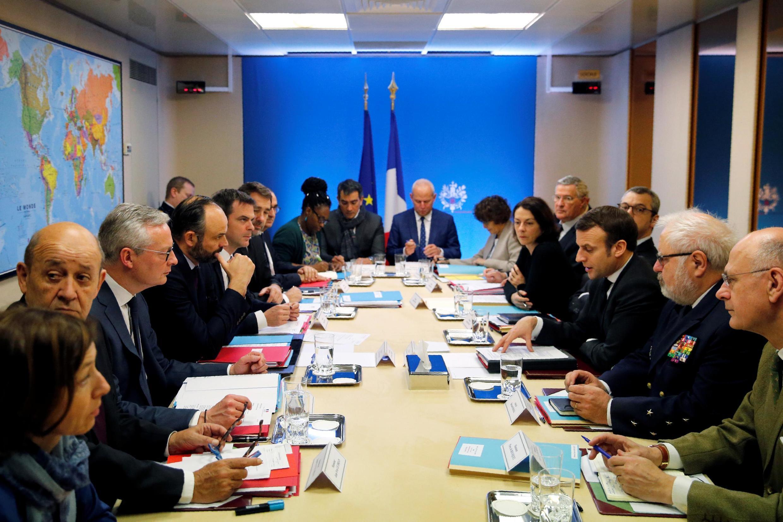 Pháp họp Hội đồng quốc phòng, an ninh bàn đối phó với dịch virus corona, Paris, ngày 29/02/2020