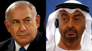 Combination of pictures of Israeli Prime Minister Benjamin Netanyahu (L) and Abu Dhabi's Crown Prince Mohammed bin Zayed