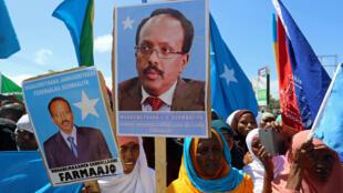 Wanawake nchini Somalia wakiwa wanasherekea ushindi wa rais Mohamed Abdullahi Mohamed, mjini Mogadishu