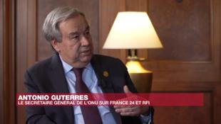 Katibu Mkuu wa Umoja wa Mataifa, Antonio Guterres, Februari 9, 2020, wakati wa mahojiano na RFI na France 24.