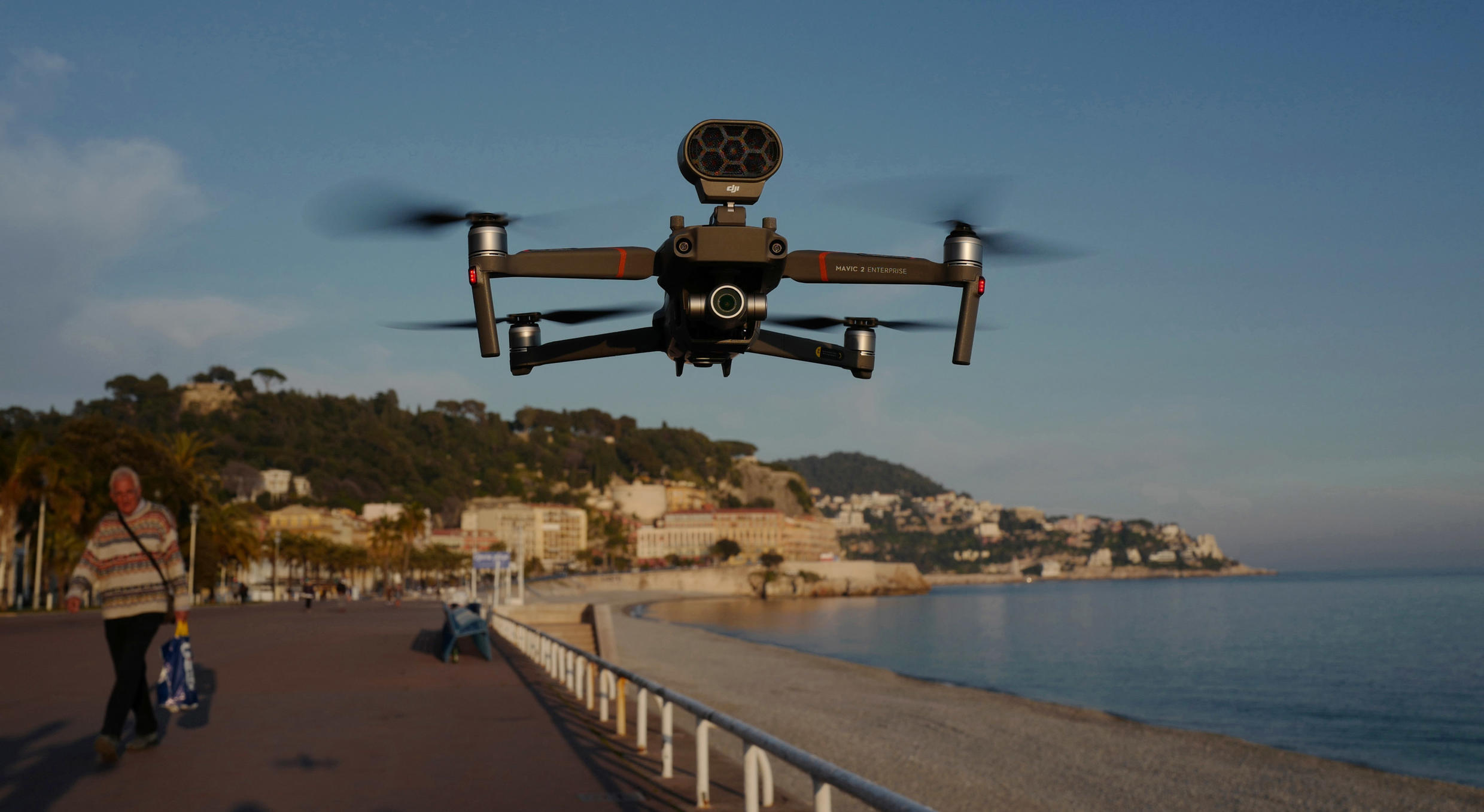 """""""A message from a drone catches your attention and avoids police having to meet the person face to face,"""" notes Stephane Morelli, co-founder of Azur Drones"""