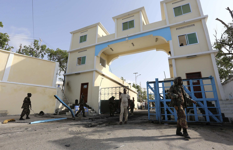 Devant le Palais présidentiel (villa Somalia) à Mogadiscio, Somalie, le 9 juillet 2014 (photo d'illustration).