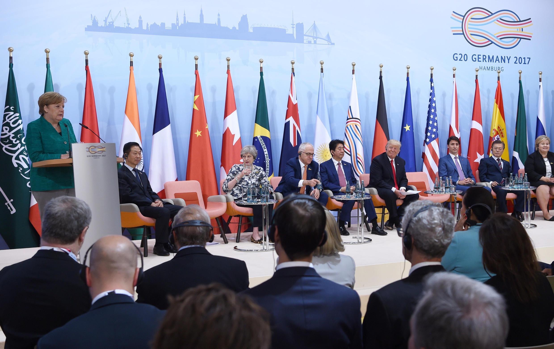 Viongozi wa G20 wakiwa katika mkutano wa mjini Hamburg Julai 8 2017