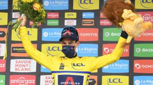 L'Australien Richie Porte, maillot jaune à l'issue de la 7e étape du Critérium du Dauphiné, disputée entre Saint-Martin-Le-Vinoux et La Plagne, le 5 juin 2021