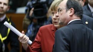 Канцлер Германии Ангела Меркель и президент Франции Франсуа Олланд, Брюссель, 19 марта 2015 г.