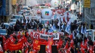 Biểu tình tại Marseille, Pháp, hôm 12/12/2019,  phản đối dự luật cải tổ hưu bổng.