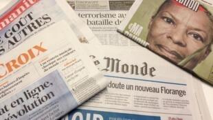 Primeiras páginas dos diários franceses 12/09/2016