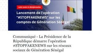Caputre d'écran du communiqué publié par la présidence sénégalaise sur Facebook.