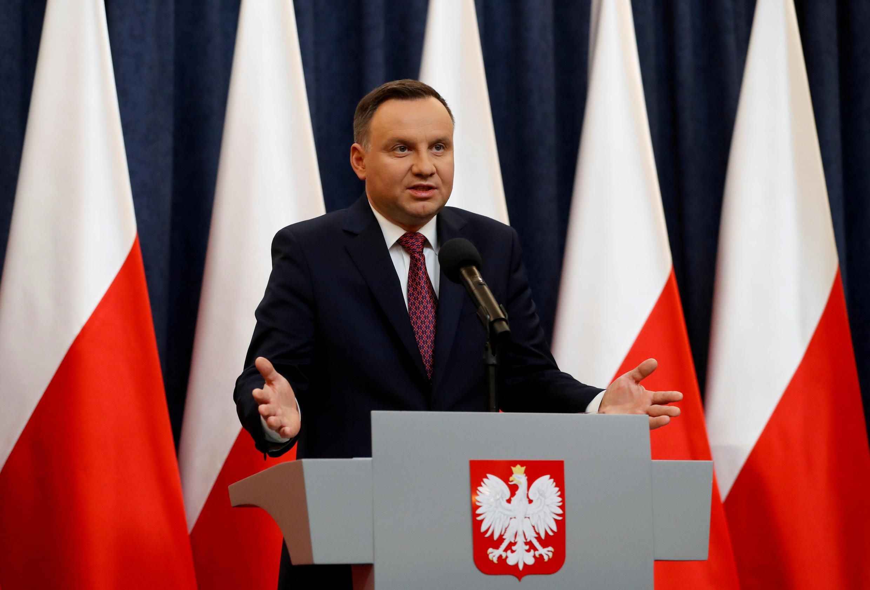 Le président polonais Andrzej Duda lors d'une conférence de presse après l'activation de l'article 7 par l'Union européenne, le 20 décembre 2017.