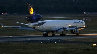 The Lufthansa cargo aircraft carrying victims of the Germanwings flight 4U 9525 lands in Duesseldorf