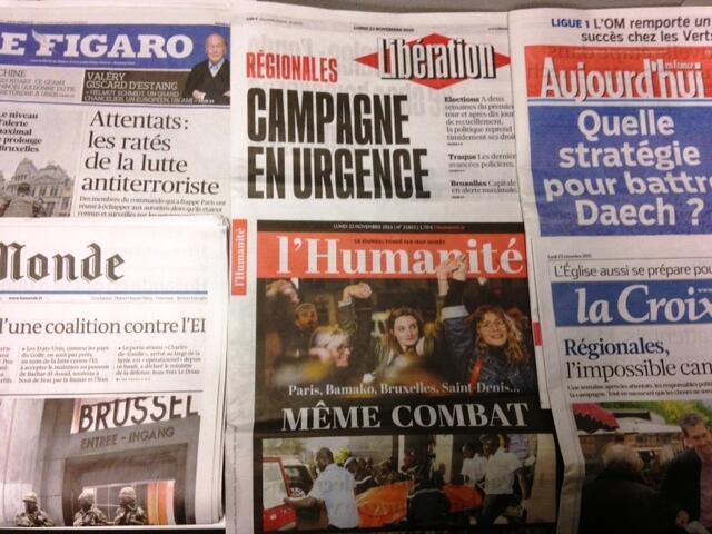 Capas dos jornais diários franceses de 23/11/15