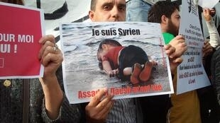 Syrian refugee Ammar Kharboutli on Saturday's demonstration in Paris