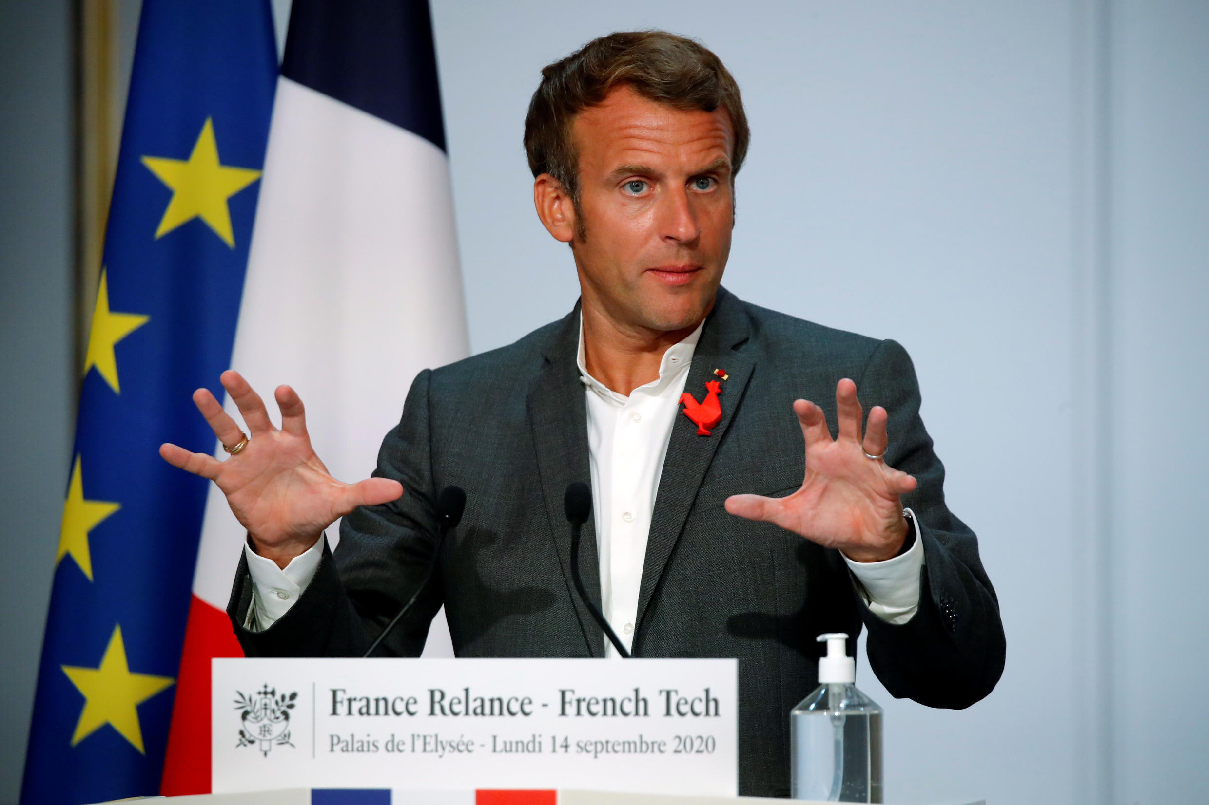 French President Emmanuel Macron delivers an address to French tech startups at the closing ceremony of the National Council of French Tech Capitals and Communities at the Elysee palace in Paris, 14 September 2020.