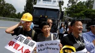毛孟静和其他民主派司法界人士在8月的一场游行中  2019年8月12日 香港