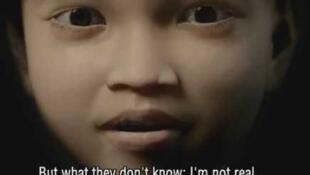 """Captura de pantalla de un video de la ONG Tierra de Hombres donde se ve a """"Sweetie"""", la niña virtual crada por la ONG."""