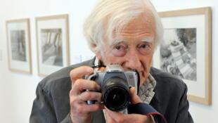 Marc Riboud en Allemagne en 2009 lors d'une exposition de Cartier-Bresson.