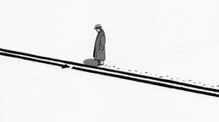 Dans «S.E.N.S», le personnage philosophique de Marc-Antoine Mathieu suit des flèches au fil des pages.
