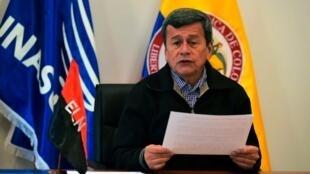 Pablo Beltran, mkuu wa mazungumzo kwa upande wa waasi wa Colombia wa ELN, Novemba 7, 2017 Sangolqui, Ecuador.