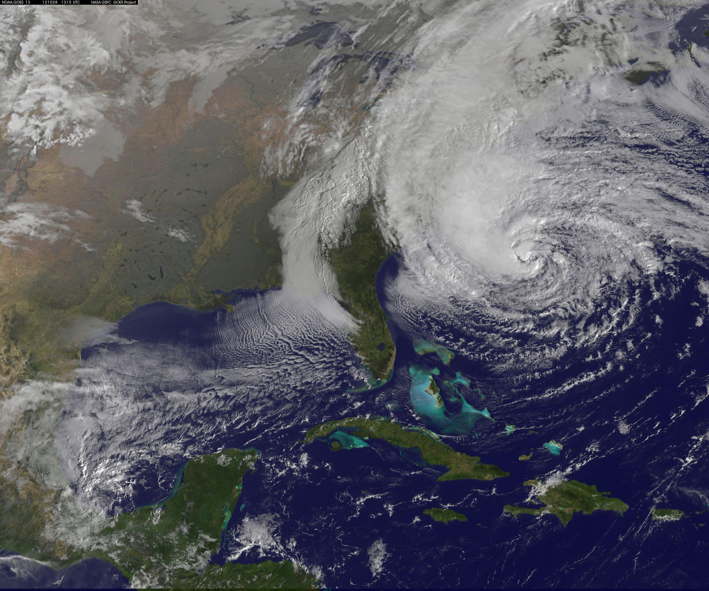 Hurricane Sandy approaches the US on Monday